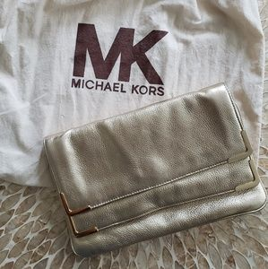 Micheal Kors Gold Leather Clutch